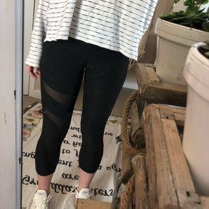 Black Cropped Mesh Leggings — Women's M